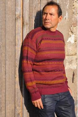 Pull-over jacquard bordeaux