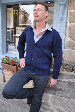 Cardigan bleu marine à col V pour homme