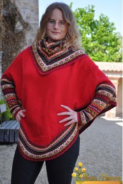 Poncho femme manches chauve souris
