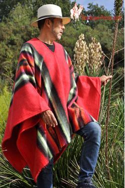 Poncho péruvien homme en laine naturelle d'alpaga