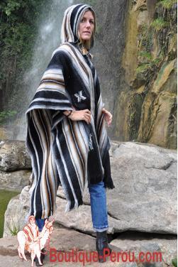 Poncho péruvien noir grande taille