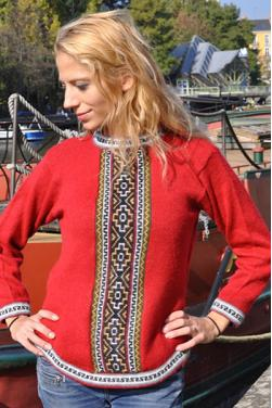 Pull femme rouge indien