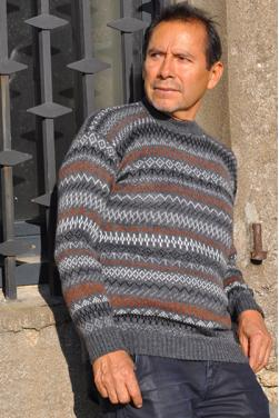 Pull-over jacquard gris