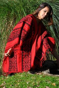 Poncho-rouge-indien