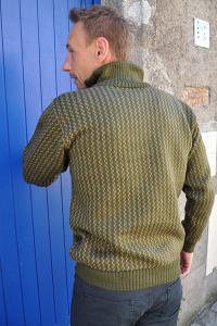 Pull kaki pour homme en laine fine alpaga