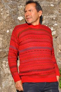 Pull-over homme rouge des andes en laine alpaga